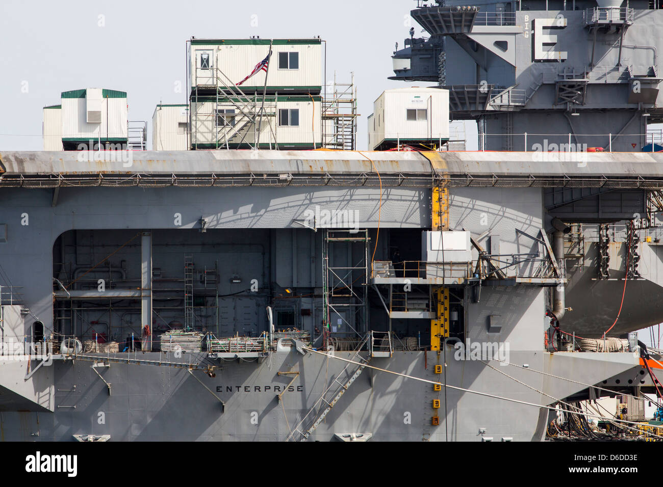The aircraft carrier USS Enterprise (CVN-65) at Naval Station Norfolk. - Stock Image