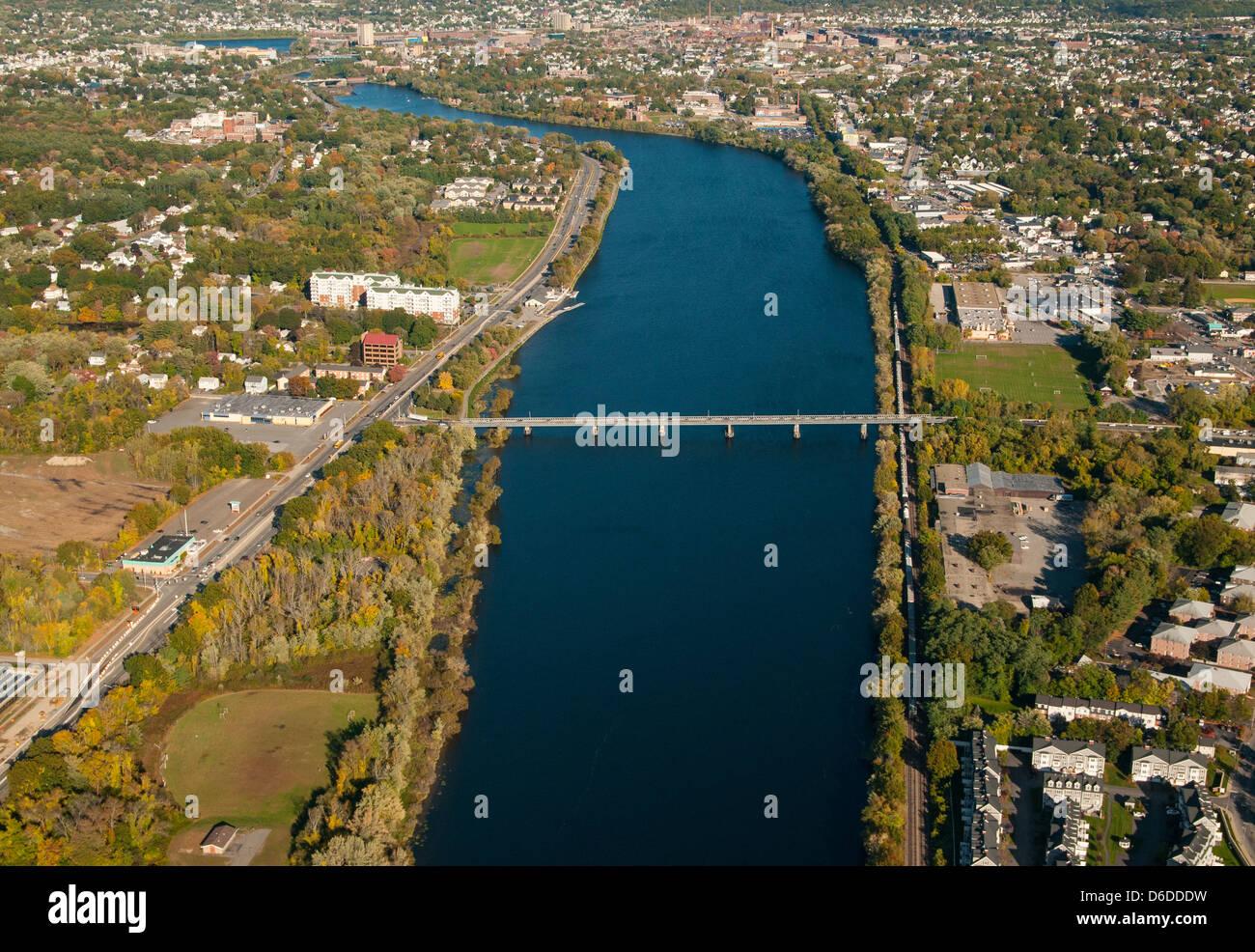 The 1250 foot long Rourke Bridge spans the Merrimack River in Lowell, Massachusetts. - Stock Image