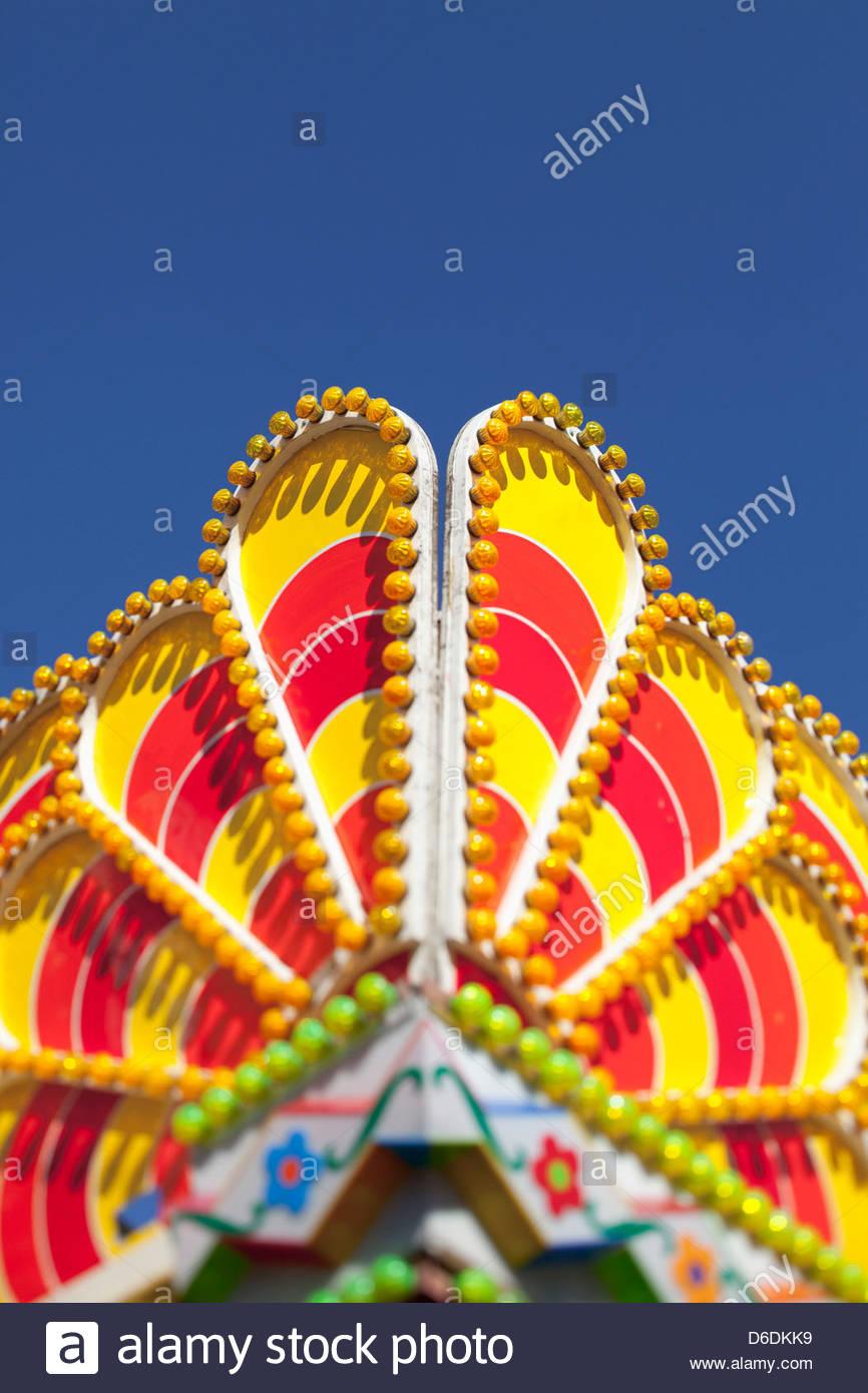 Oktoberfest fairground ride detail lights roof - Stock Image