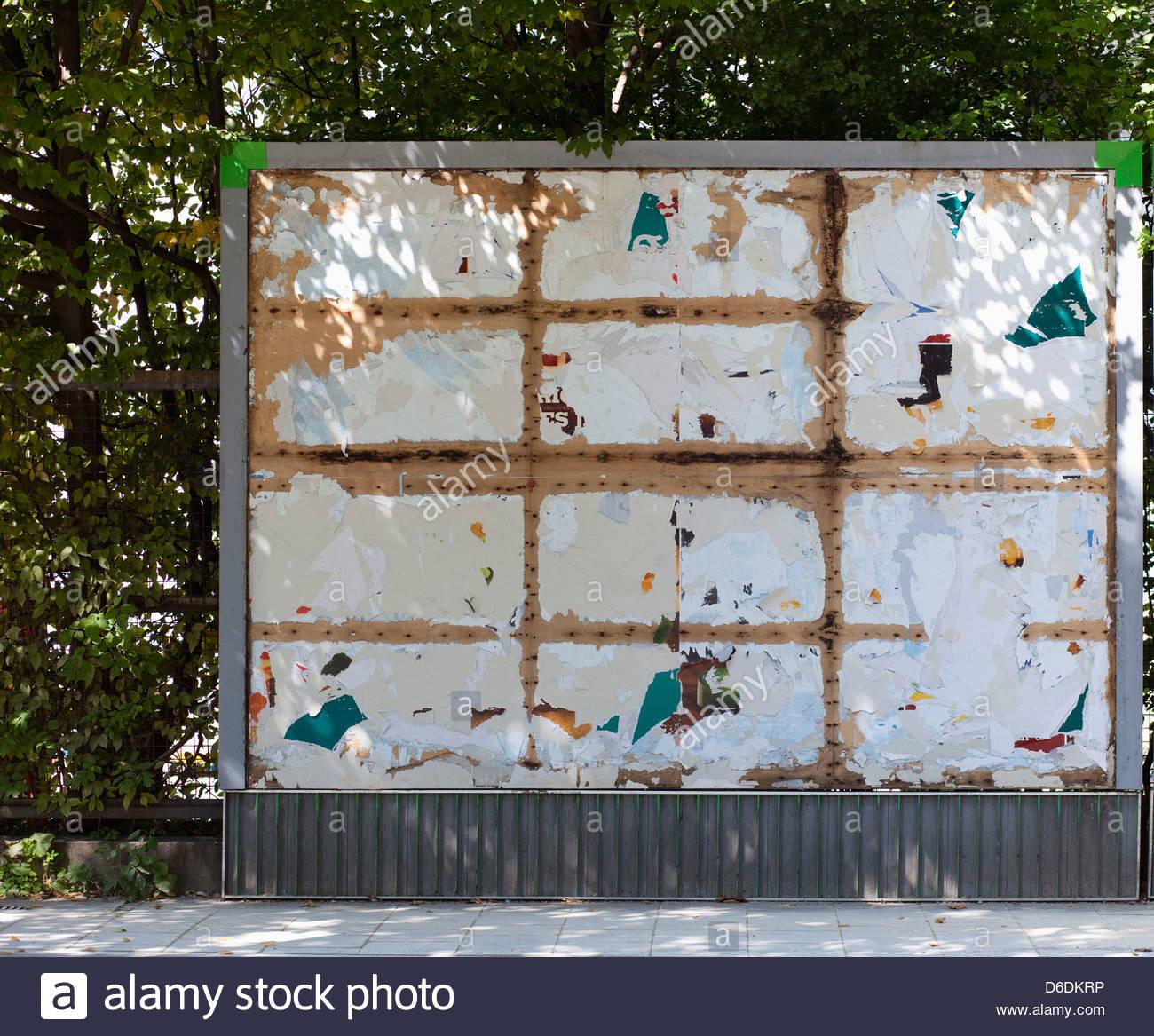 Billboard empty old sign advert blank advertising - Stock Image