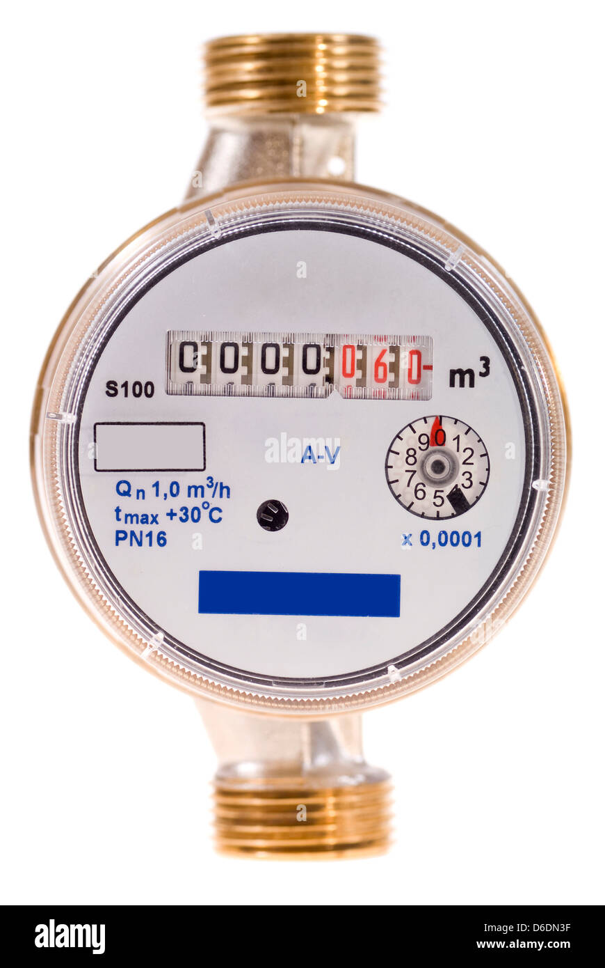 new water meter on white background - Stock Image