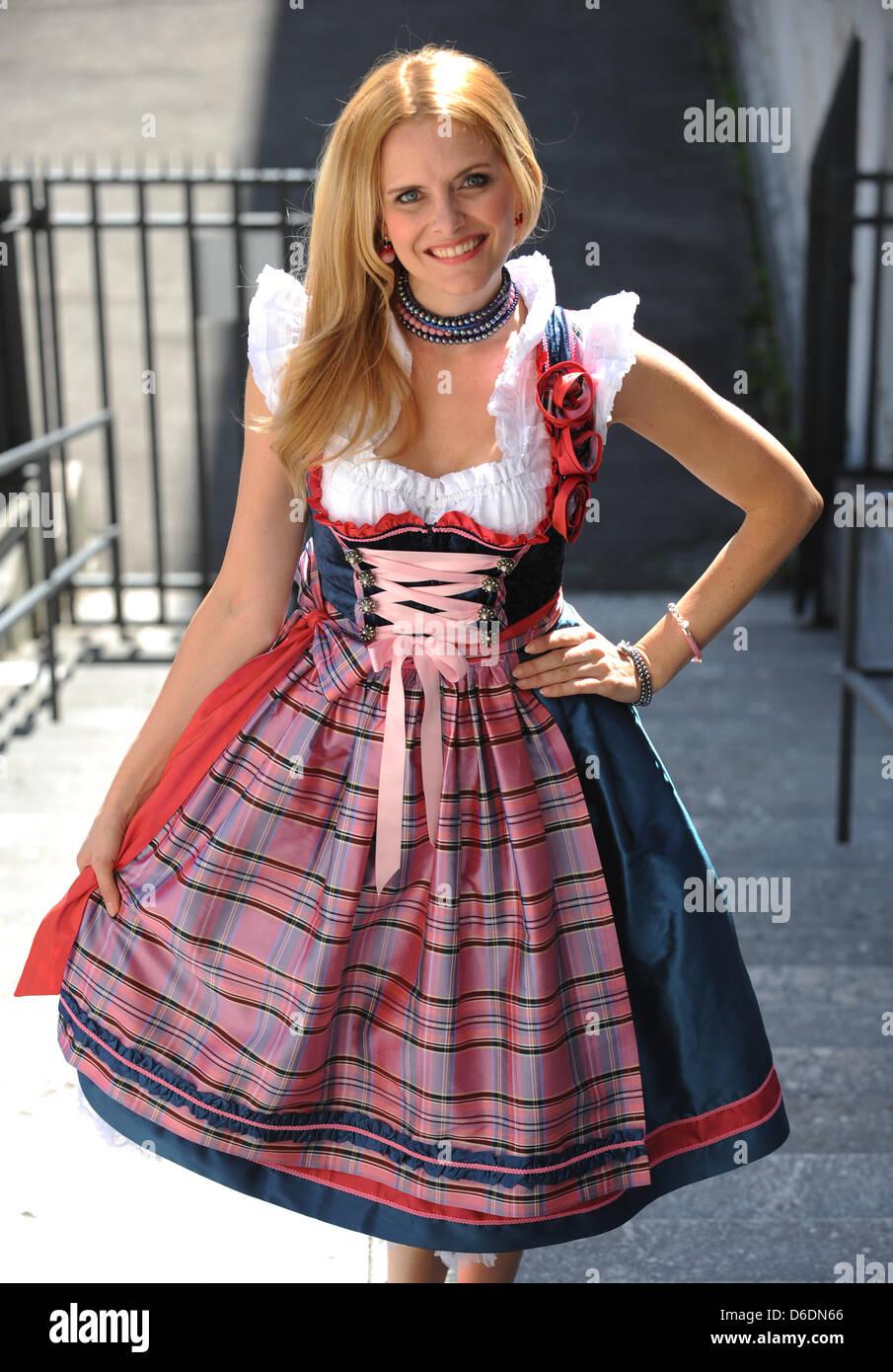 6fc43e45b28538 Model Daniela Vukovic presents a dirndl by Munich dirndl designer ...