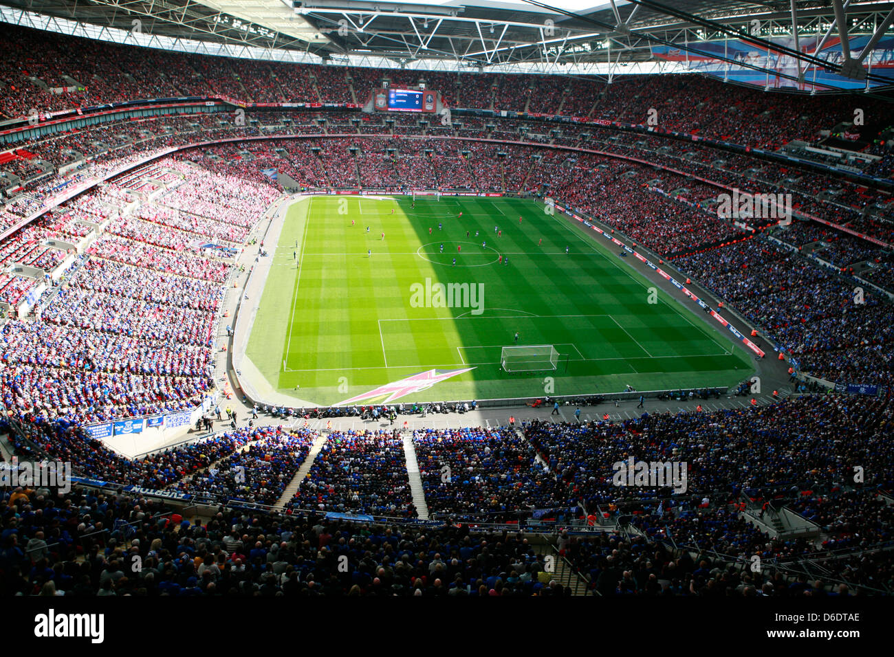 Wembley Stadium during a football soccer match between Liverpool and Everton - Stock Image