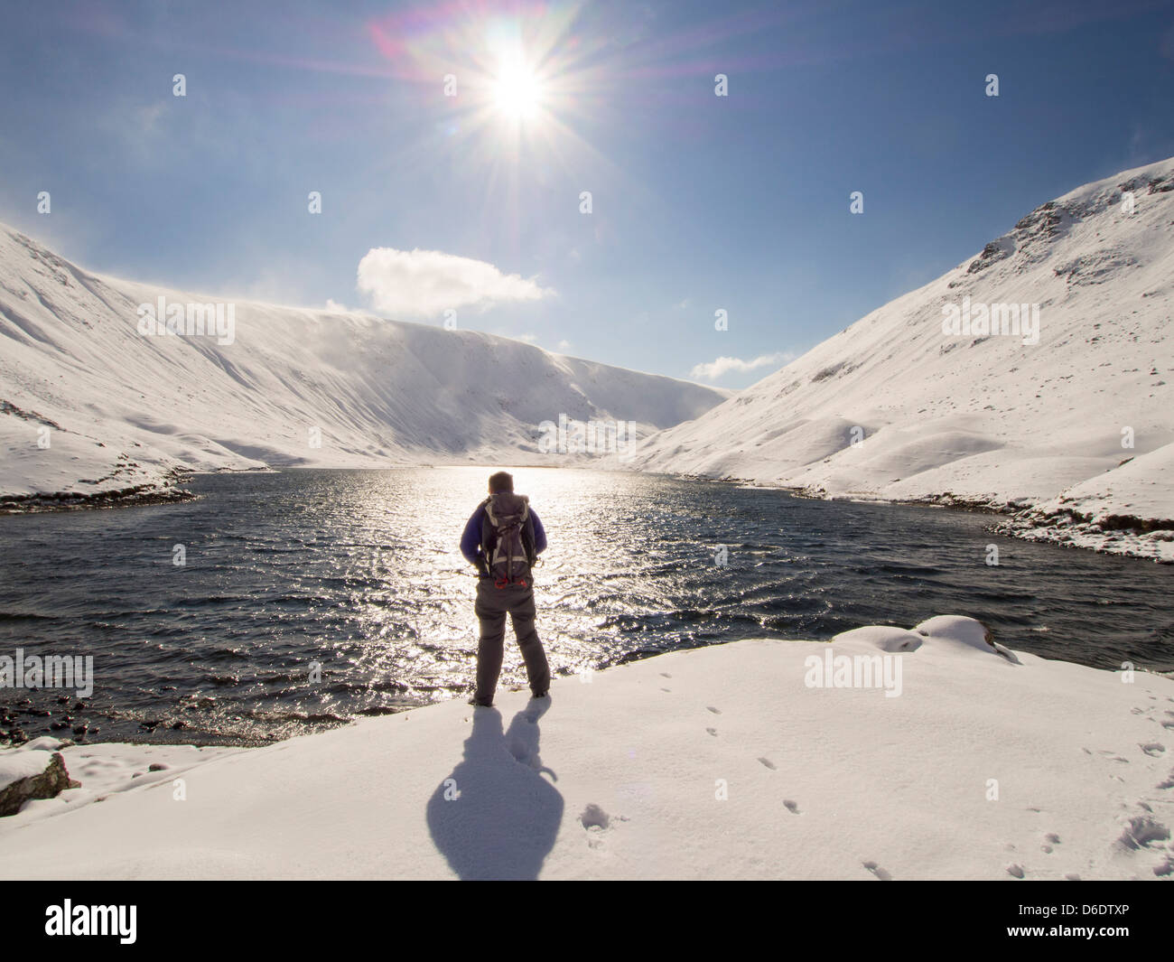 Hayeswater reservoir above Hartsop in Patterdale in unseasonally cold weather in late March 2013, Lake District, - Stock Image