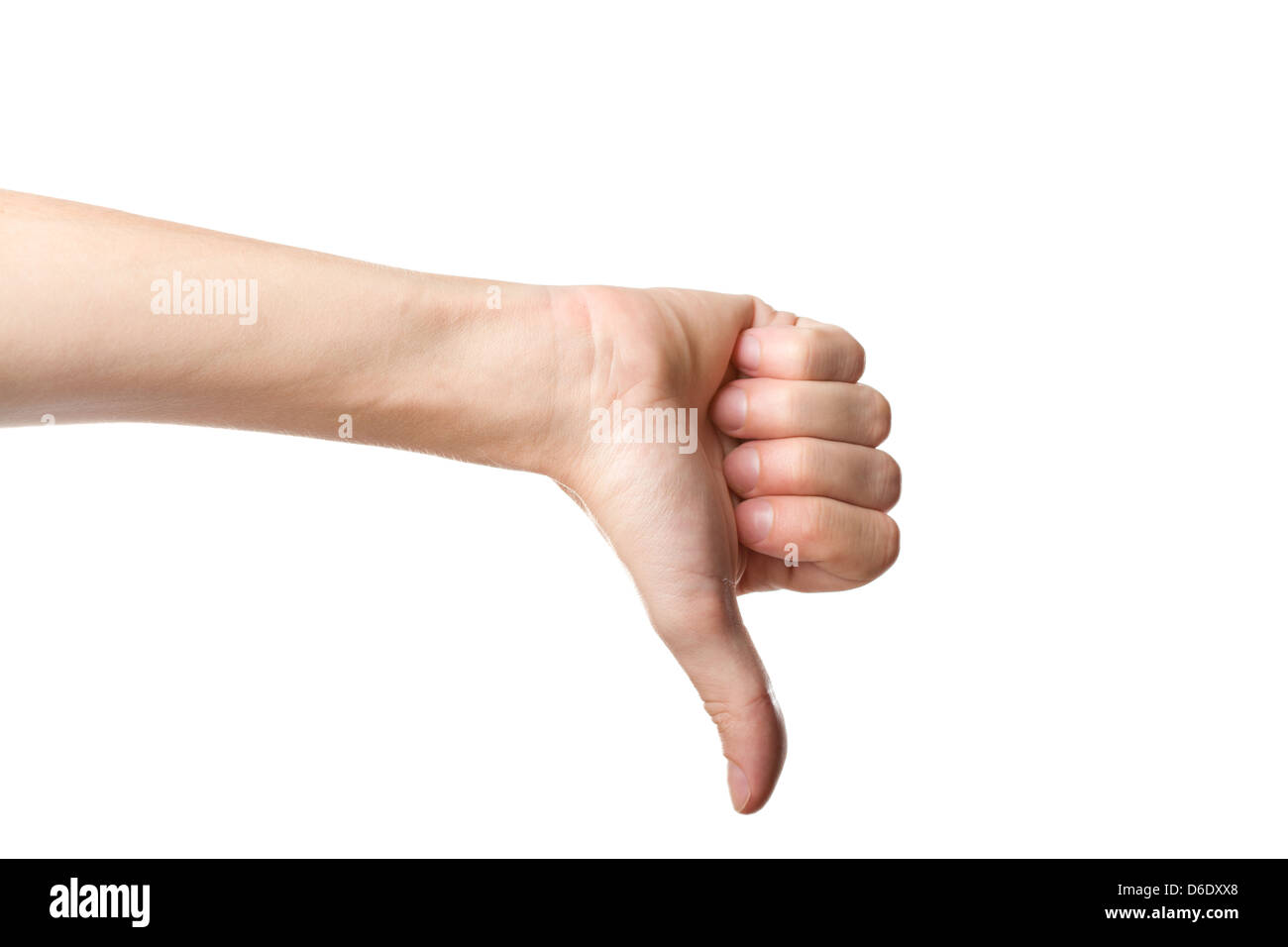 Thumbs down hand sign - Stock Image