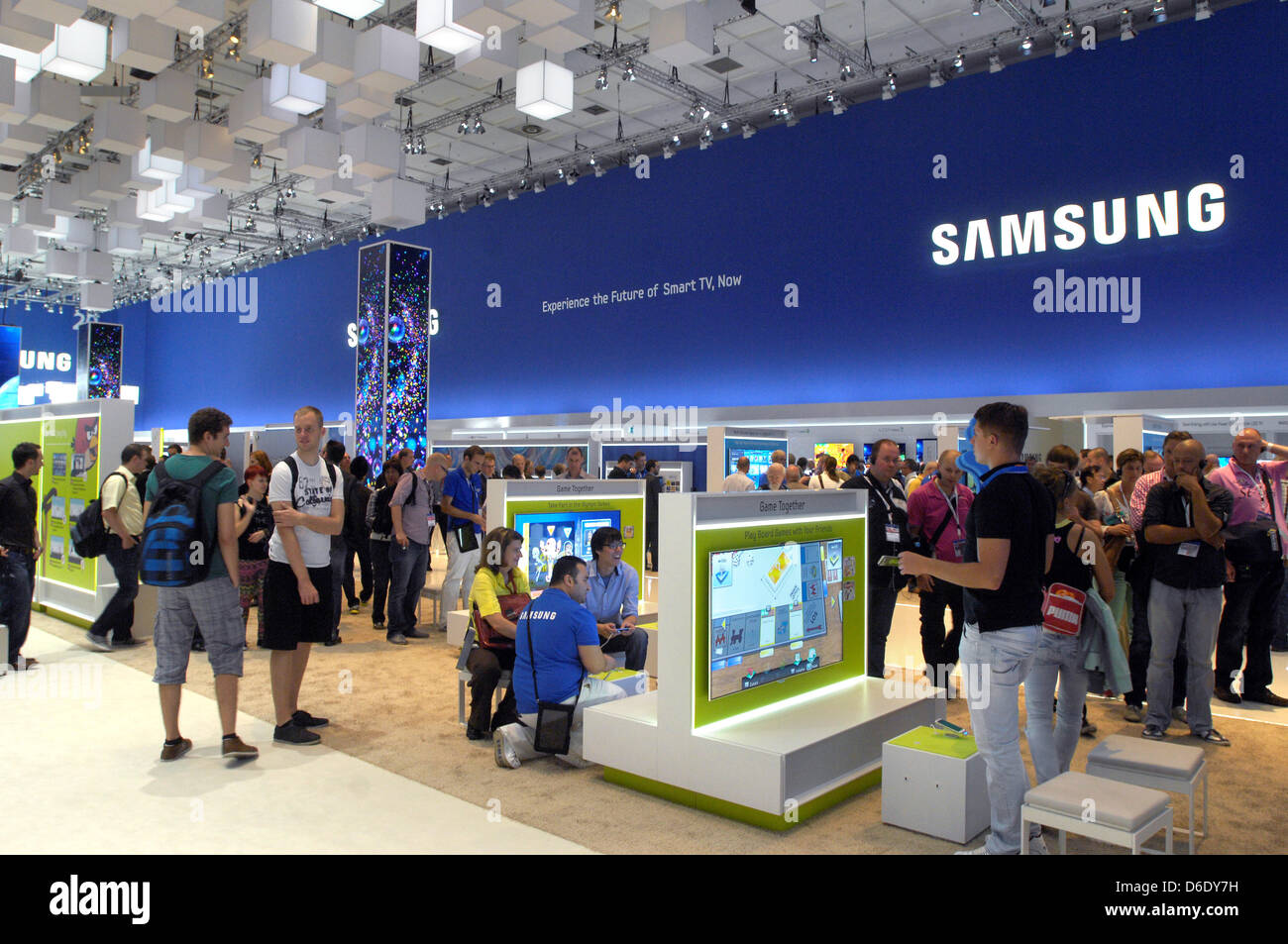 the samsung booth at the berlin radio show ifa 2012 in berlin stock photo 55625797 alamy. Black Bedroom Furniture Sets. Home Design Ideas
