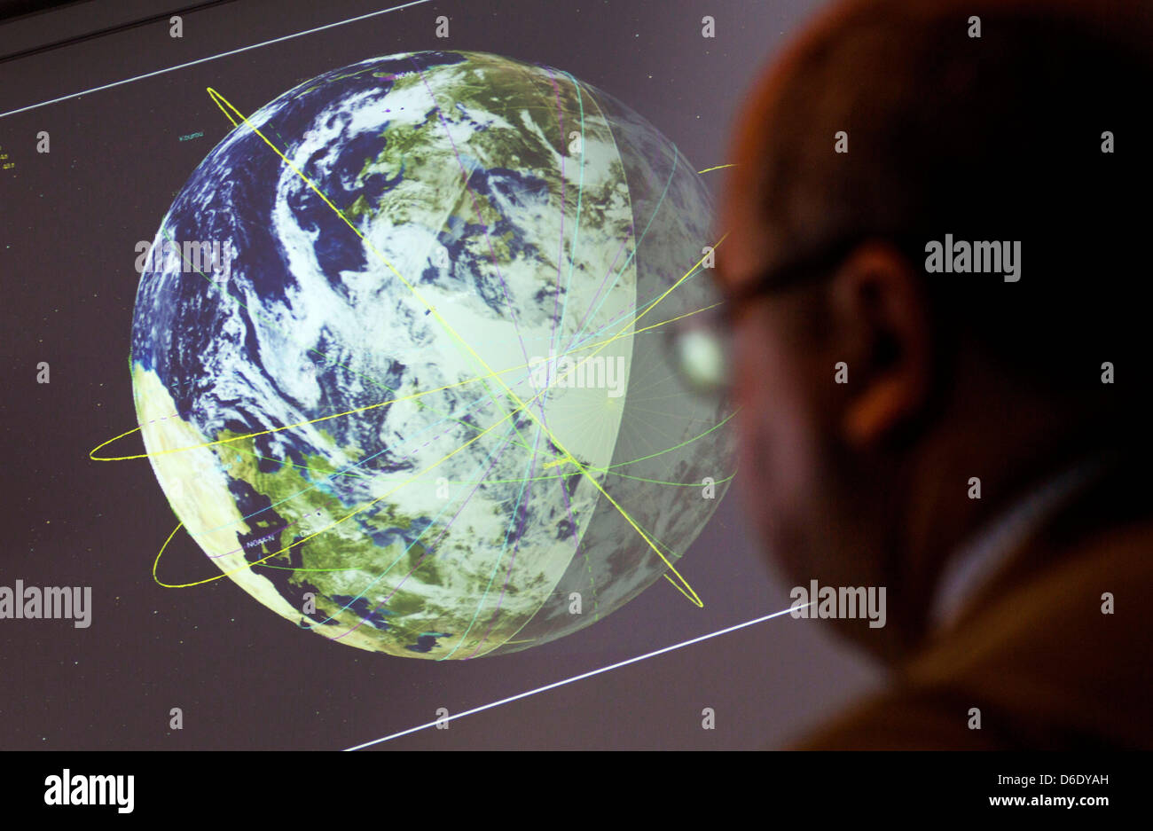 ESA Employees are at work in a control room of the European Space Agency (ESA) in Darmstadt, Germany, 17 September - Stock Image