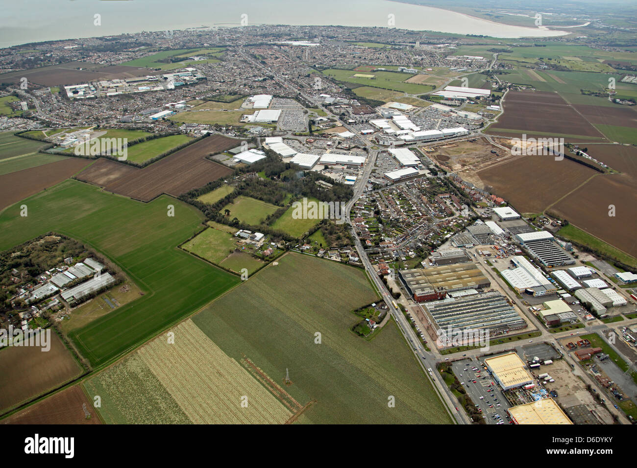 aerial view of the A254 Margate Road looking south towards Ramsgate, Kent. Also show Westwood Industrial Estate. - Stock Image