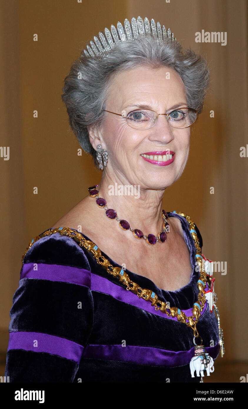 Princess Benedikte of Denmark arrives for the Gala Dinner on the occasion of the 40th jubilee of Queen Margrethe - Stock Image