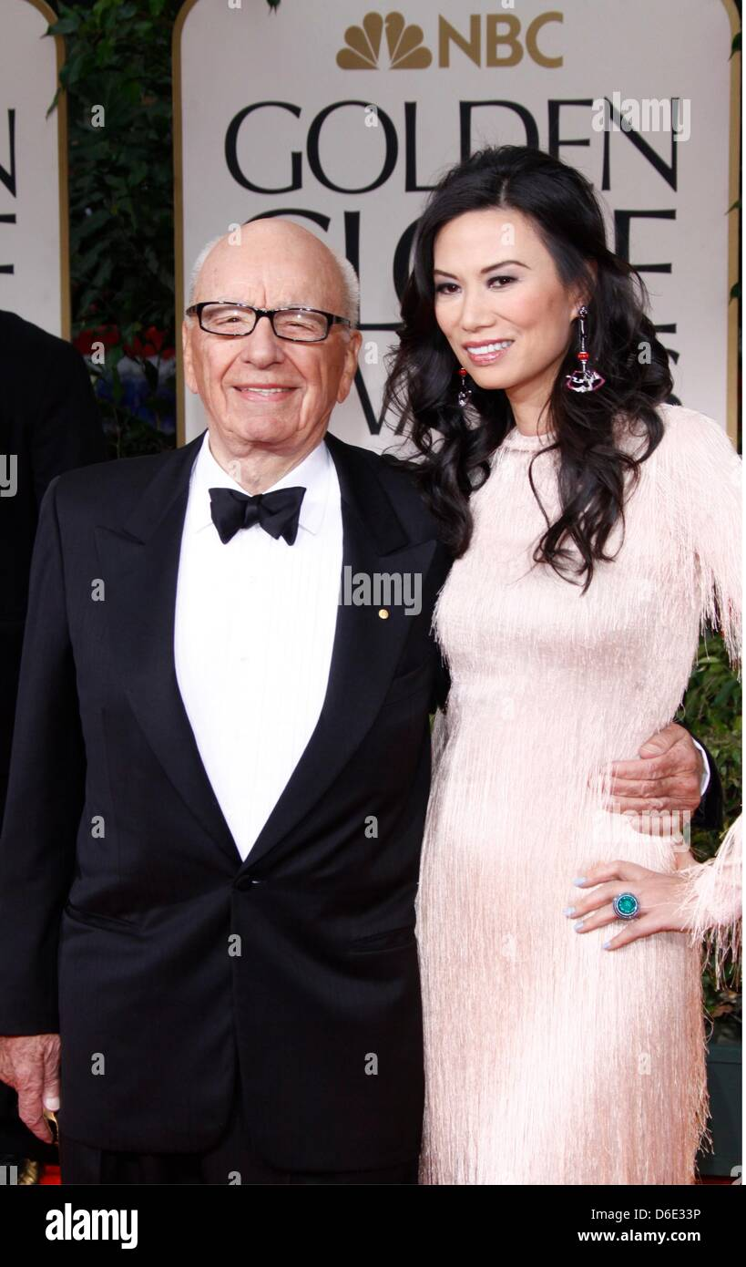 Rupert Murdoch and Wendi Murdoch arrive at the 69th Annual Golden Globe Awards presented by the Hollywood Foreign - Stock Image