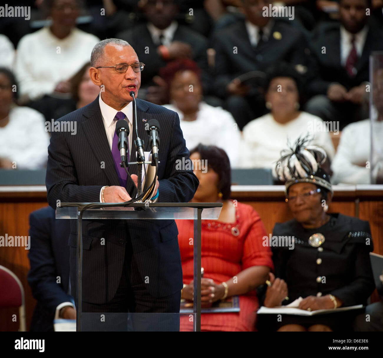 National Aeronautics and Space Administration (NASA) Administrator Charles Bolden speaks and delivers greetings - Stock Image