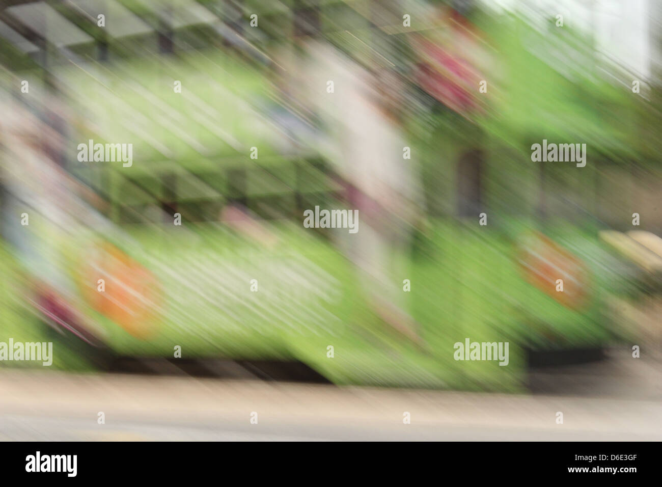 Impressionist photograph of a Hong Kong tram - Stock Image