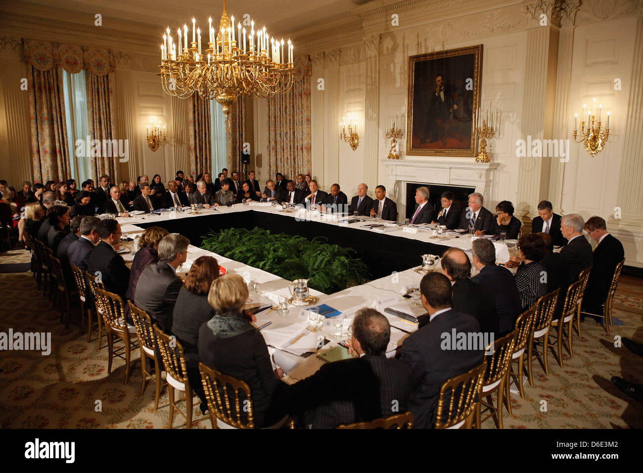 United States President Barack Obama meets with his Council on Jobs and Competitiveness, group of business leaders - Stock Image
