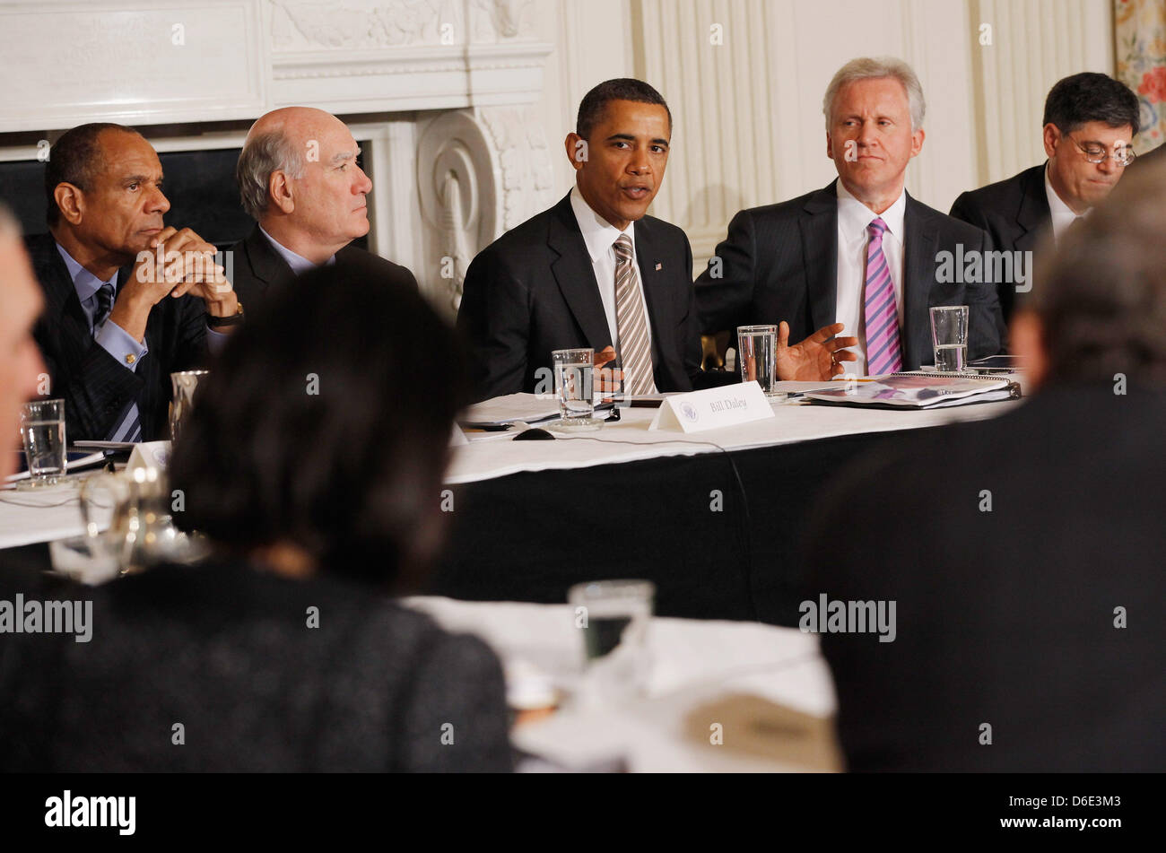 United States President Barack Obama (C) meets with his Council on Jobs and Competitiveness, group of business leaders - Stock Image