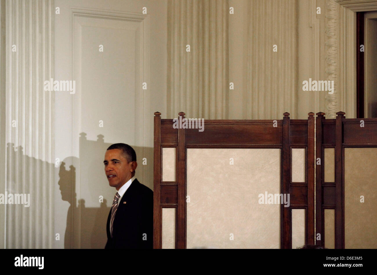 United States President Barack Obama arrives for a meeting with his Council on Jobs and Competitiveness, a group - Stock Image