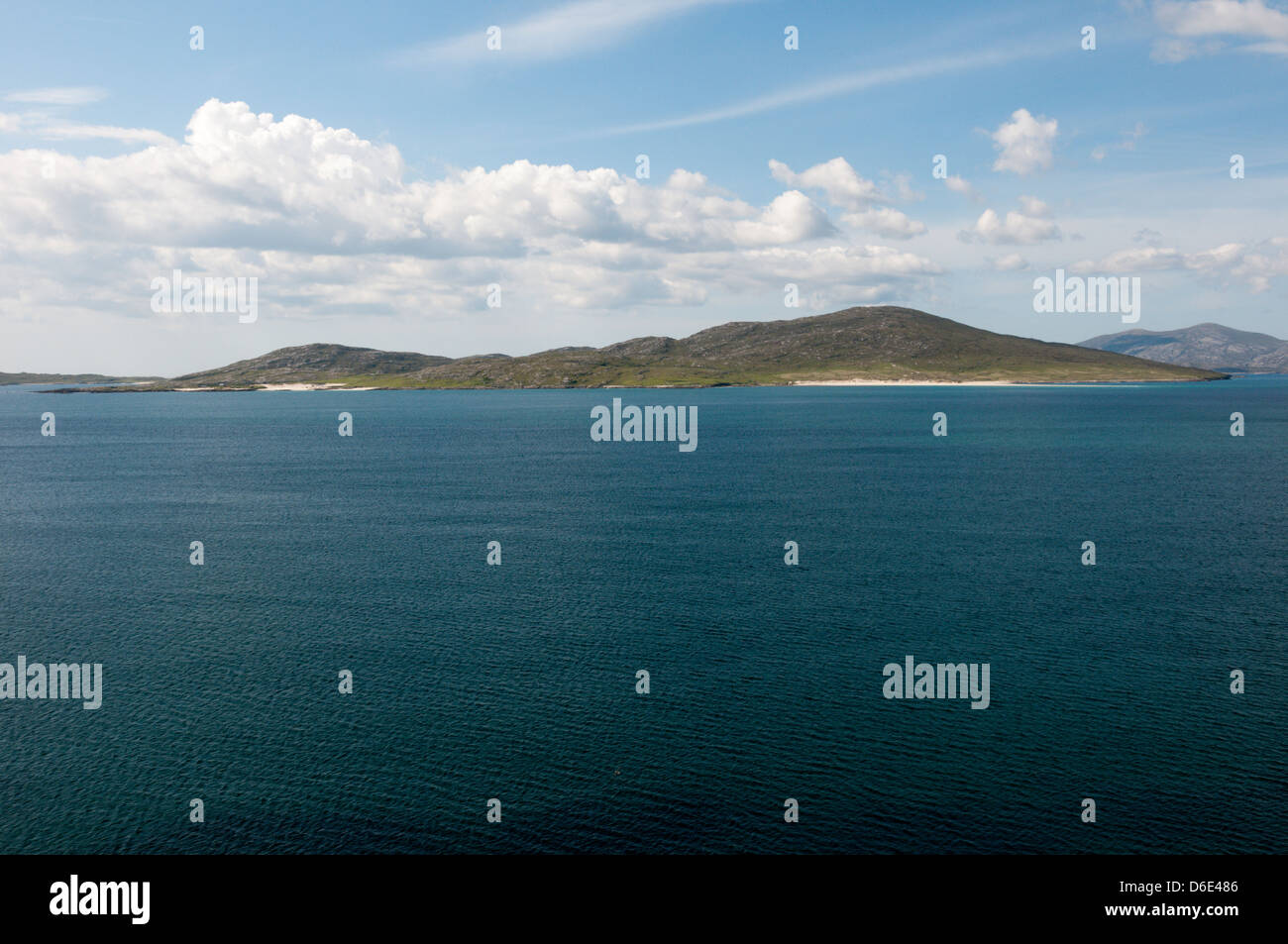 The island of Taransay seen across the Sound of Taransay from South Harris in the Outer Hebrides. Stock Photo