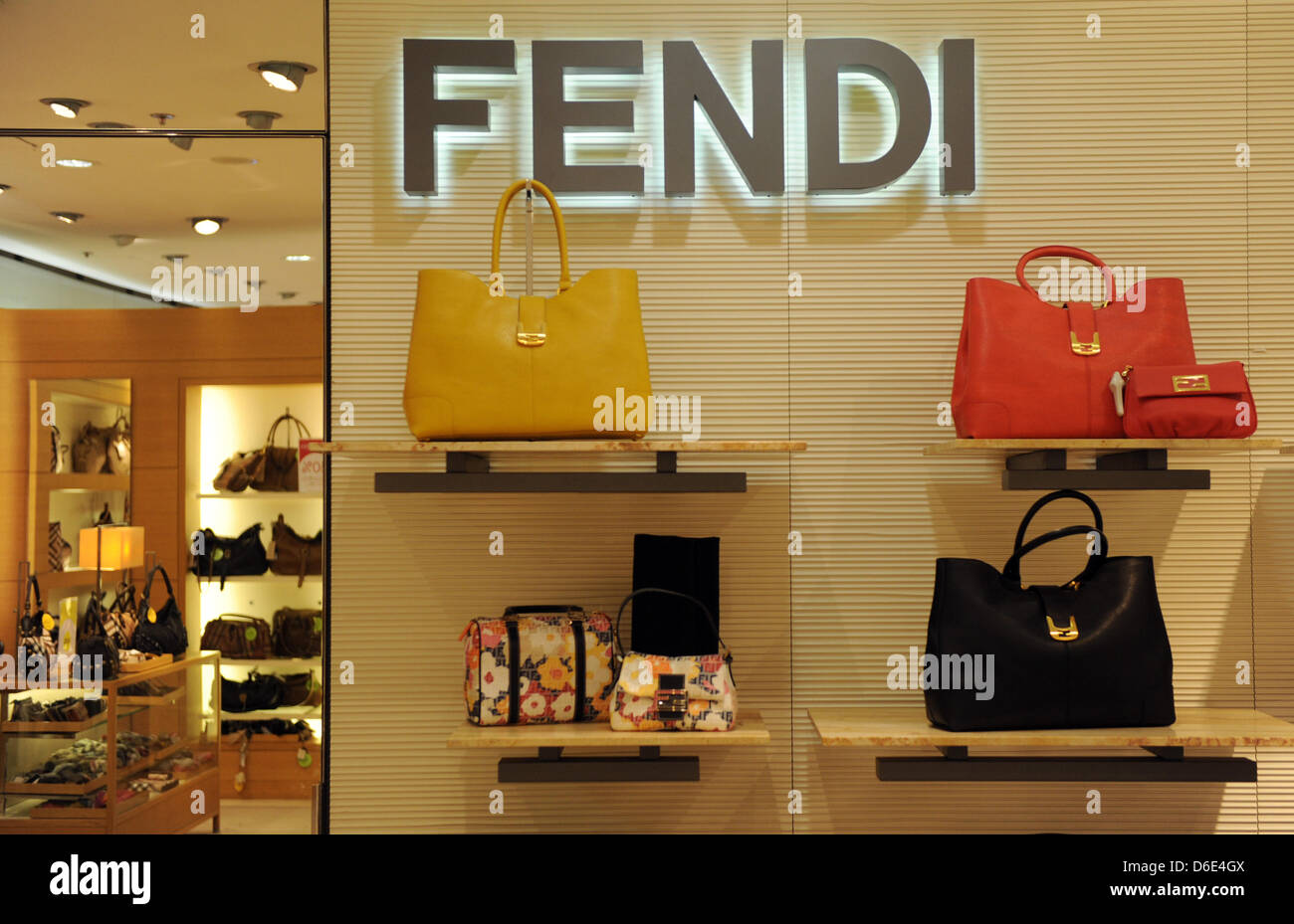 Handbags of luxury brand Fendi, pictured on 18 January 2012 the shopping center Galeries Lafayette in Berlin, Germany. - Stock Image