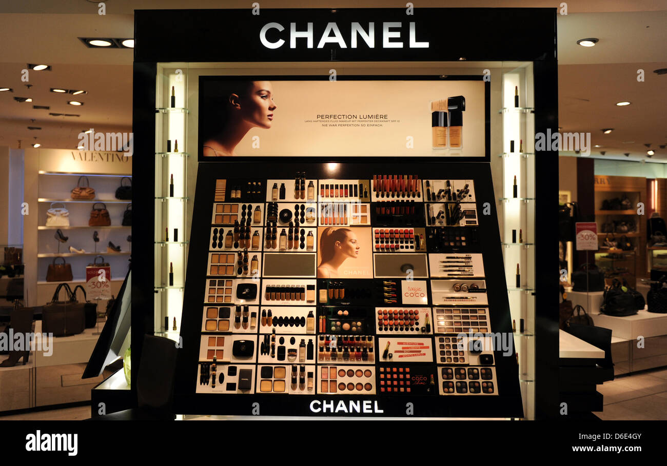 Cosmetic products of luxury brand Chanel, pictured on 18 January 2012 the shopping center Galeries Lafayette in - Stock Image