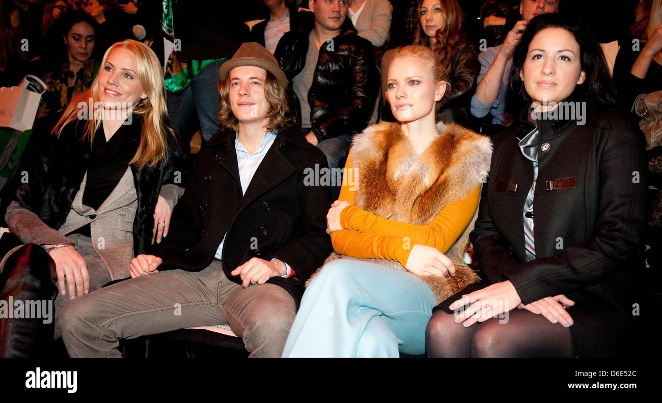 Judith Raakers (l-r), Pierre Sarkozy, Franziska Knuppe and Minu Barati-Fischer are attending the Laurel show during - Stock Image