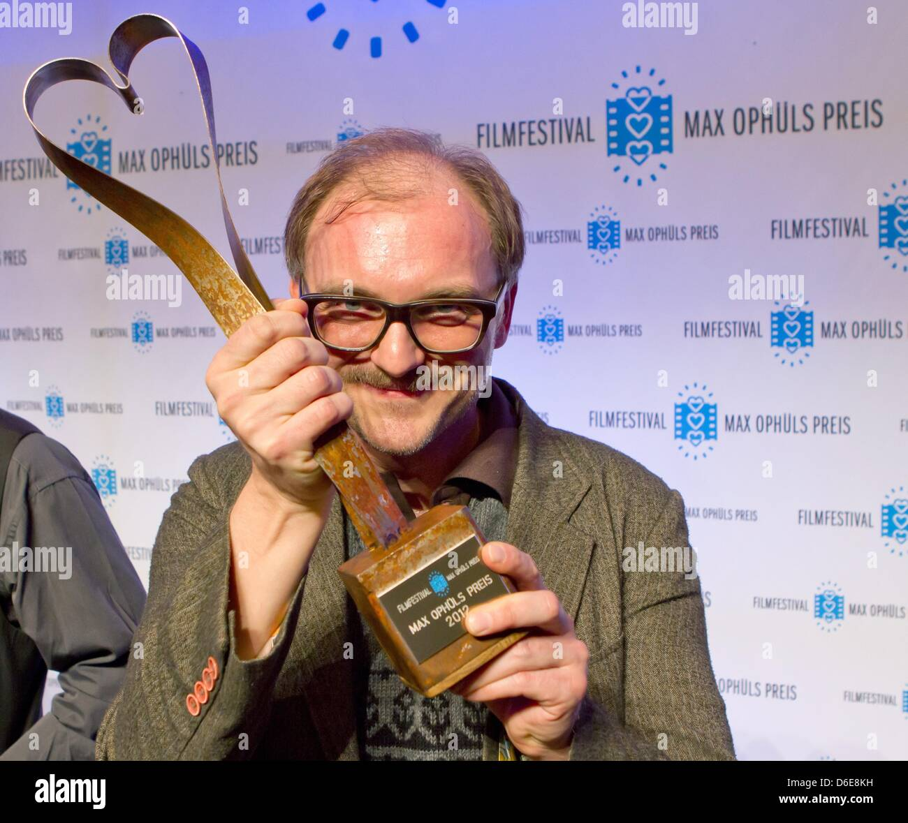 Austrian director Markus Schleinzer presents the Max Ophuels Award at the Congress Hall in Saarbruecken, Germany, - Stock Image