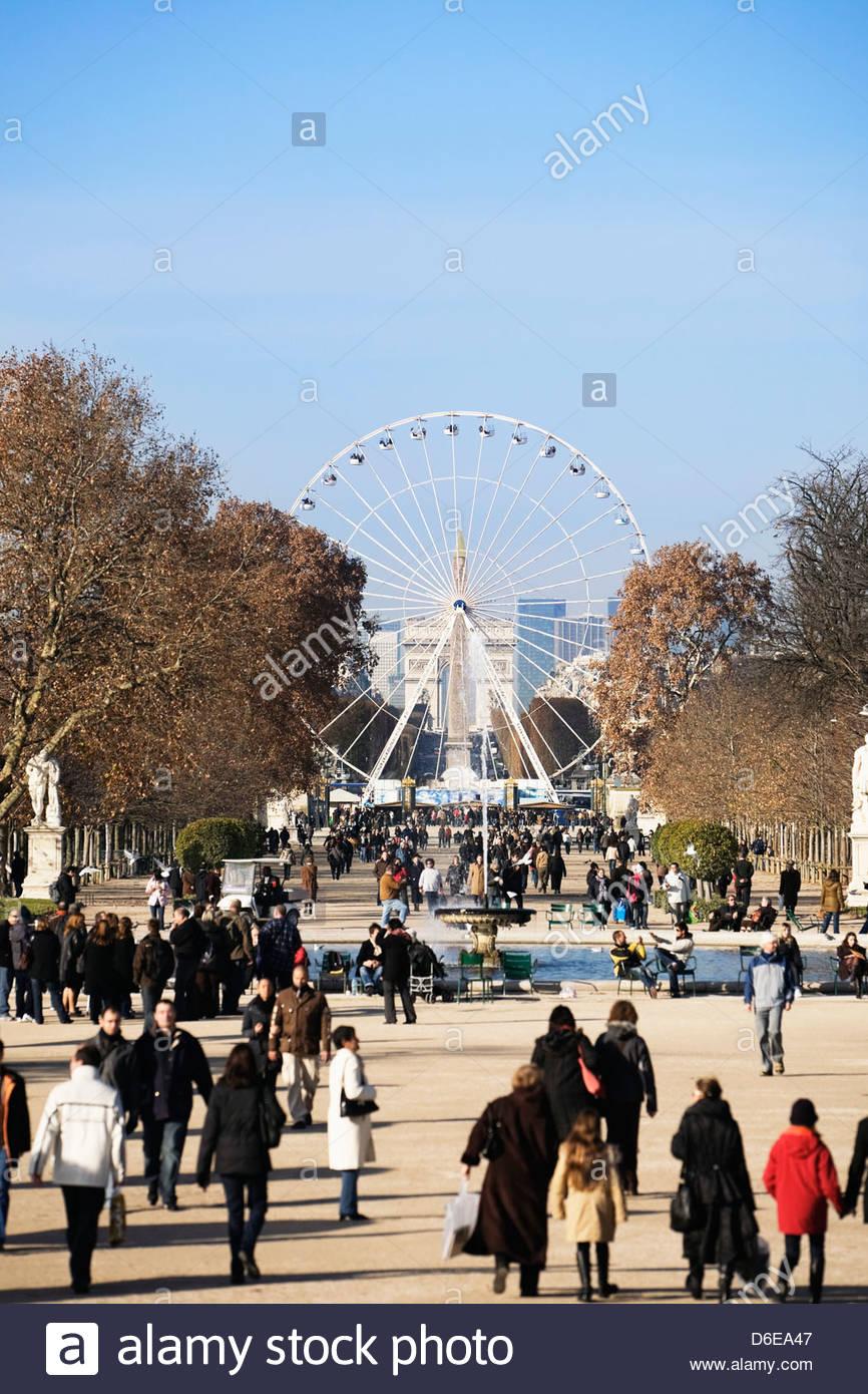 Crowd In Jardin Des Tuileries Garden With Ferris Wheel In Background