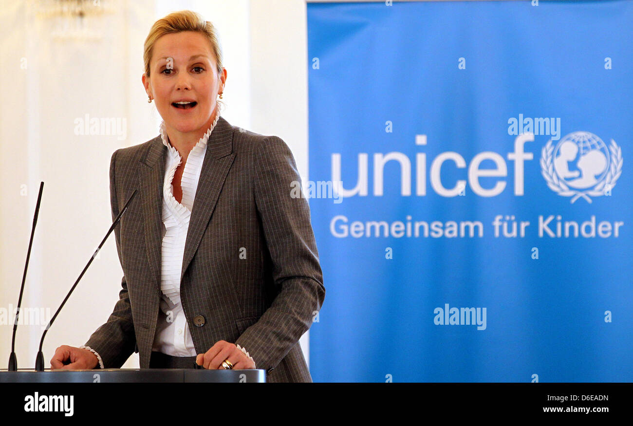 Wife of the German President Bettina Wulff speaks during the New Year's dialogue of UNICEF Germany at Bellevue Palace Stock Photo