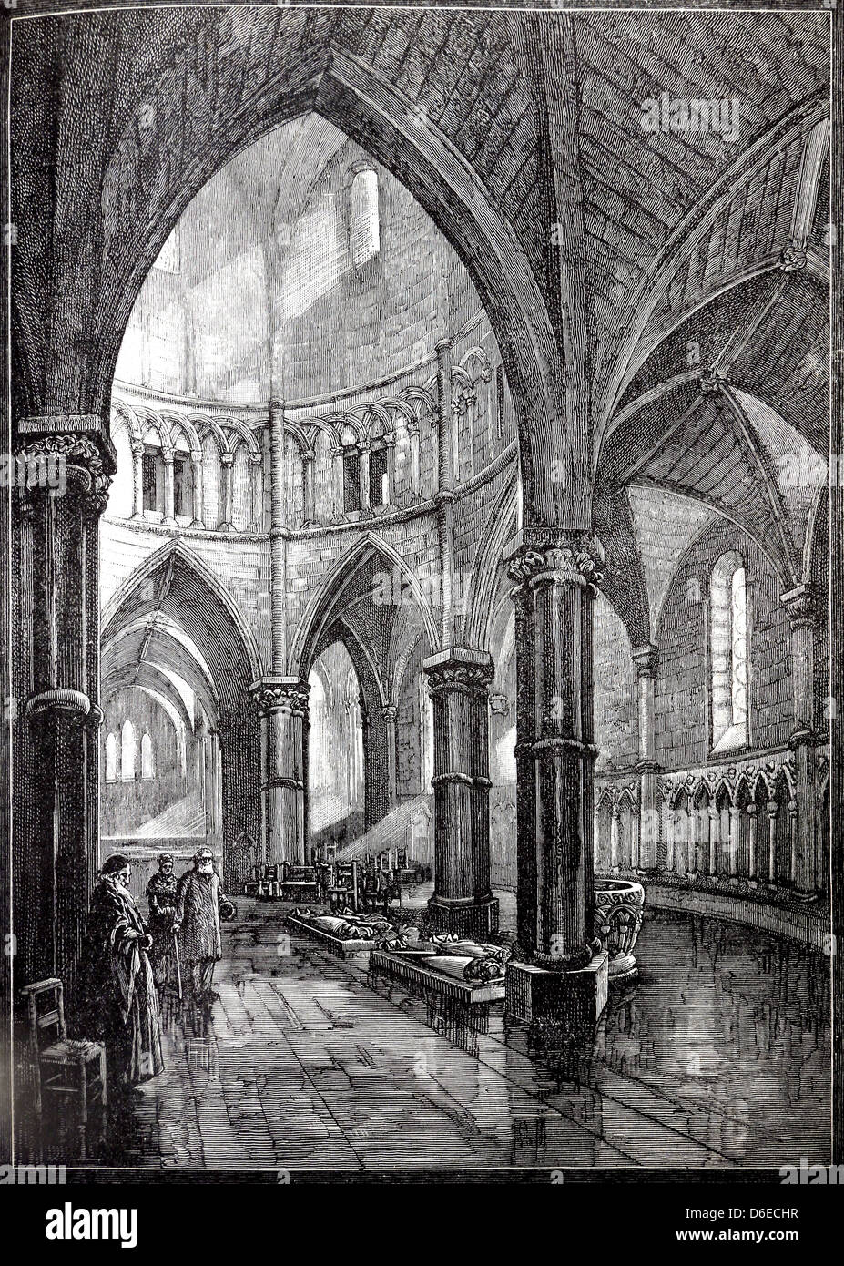 Illustration Of Interior Of The Temple Church London By L Speed From Cassell's History Of England Volume 1 Book Stock Photo