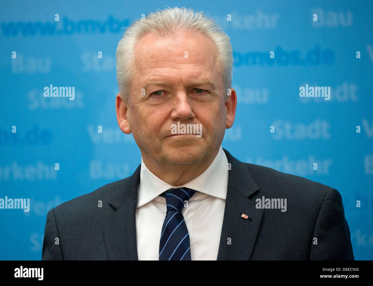 CEO of Deutsche Bahn, Ruediger Grube, gives a press conference at the German Ministry of Transport in Berlin, - Stock Image