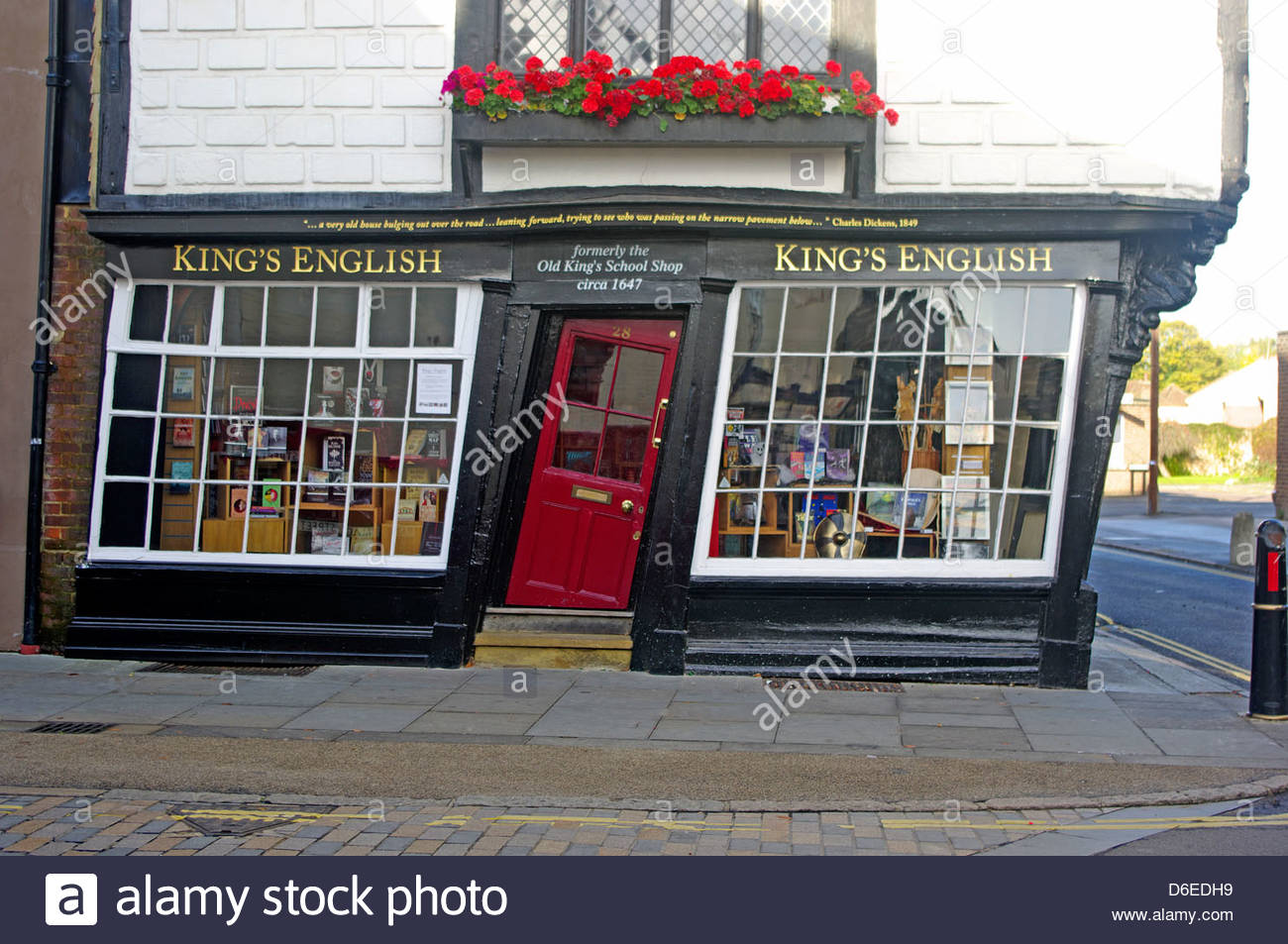 Canterbury Kent Book Shop Formerly Old Kings School Shop 1647 - Stock Image