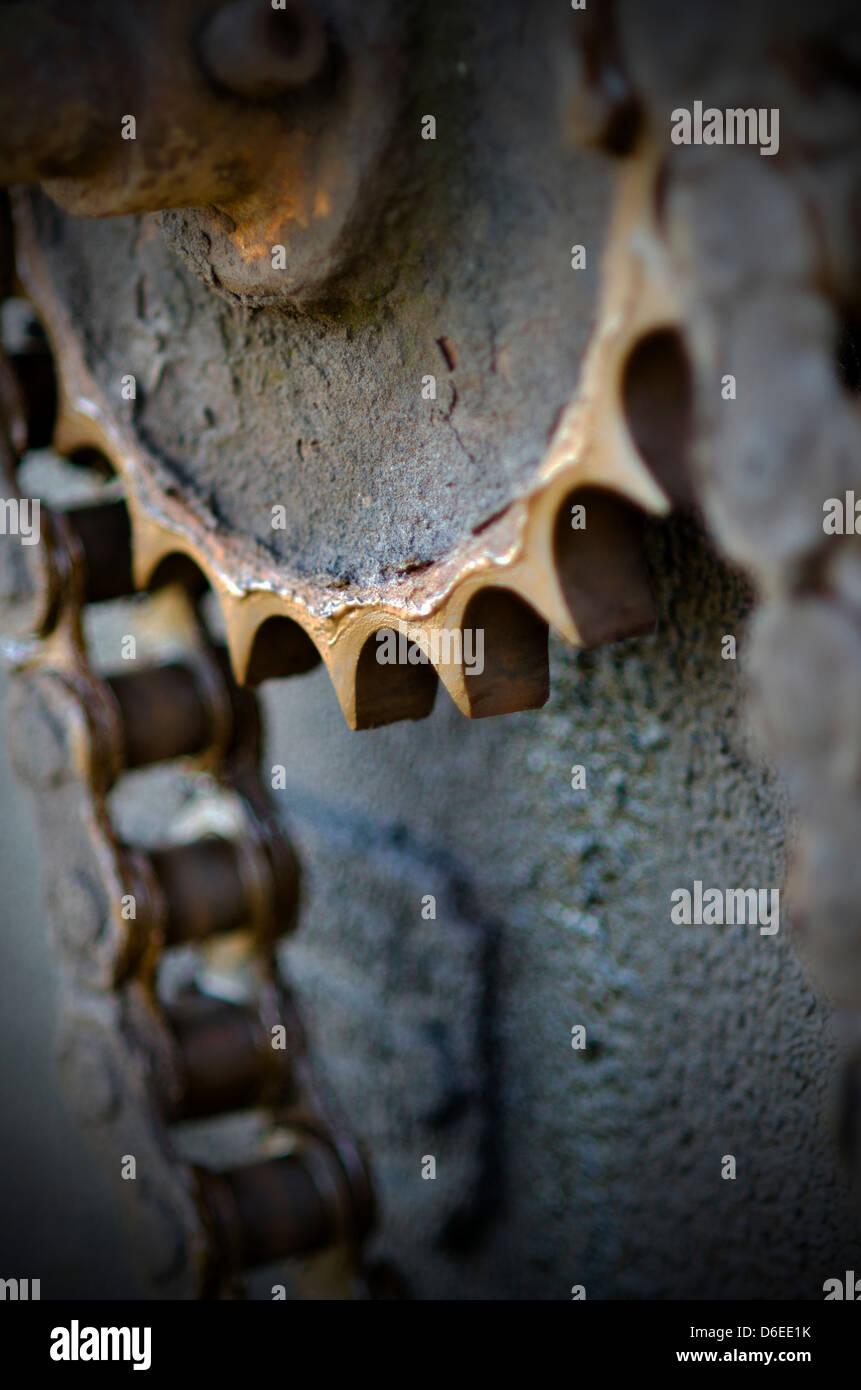 metal cog and drive chain - Stock Image
