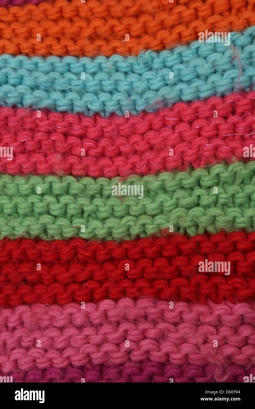 Close Up Of Colourful Wool Scarf - Stock Image