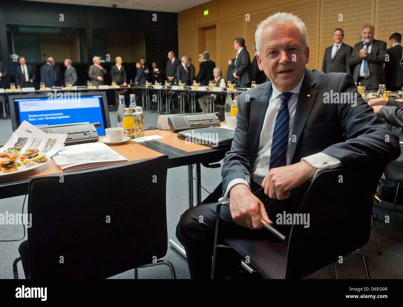 CEO of Deutsche Bahn, Ruediger Grube, attends a meeting at the German Ministry of Transport in Berlin, Germany, - Stock Image