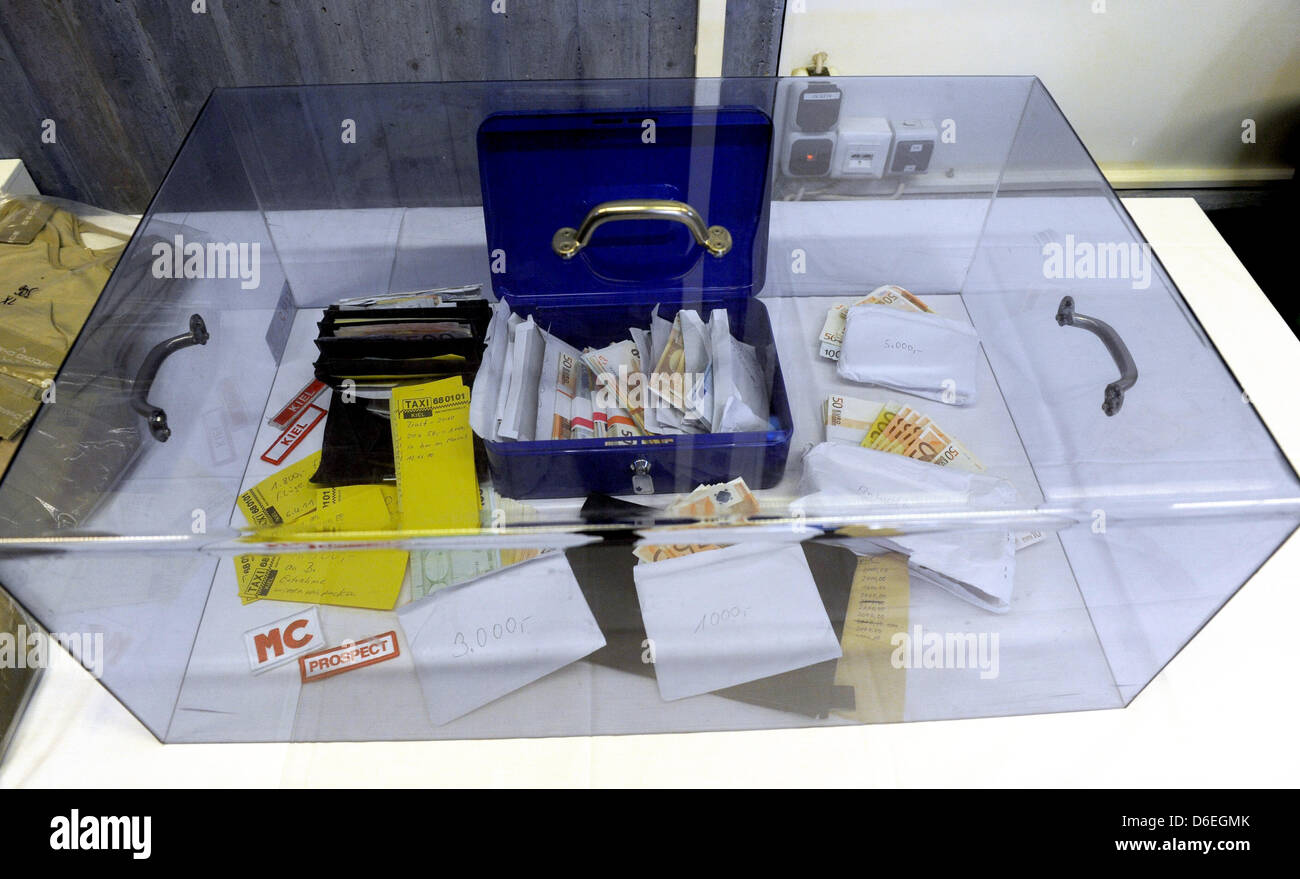 Money and documents of the Hells Angels sits under a glass case on a