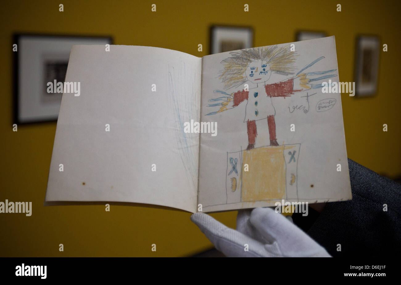 The booklet 'Struwwelpeter' (Slovenly Peter) by artist Ernst Ludwig Kirchner is pictured at the exhibition - Stock Image