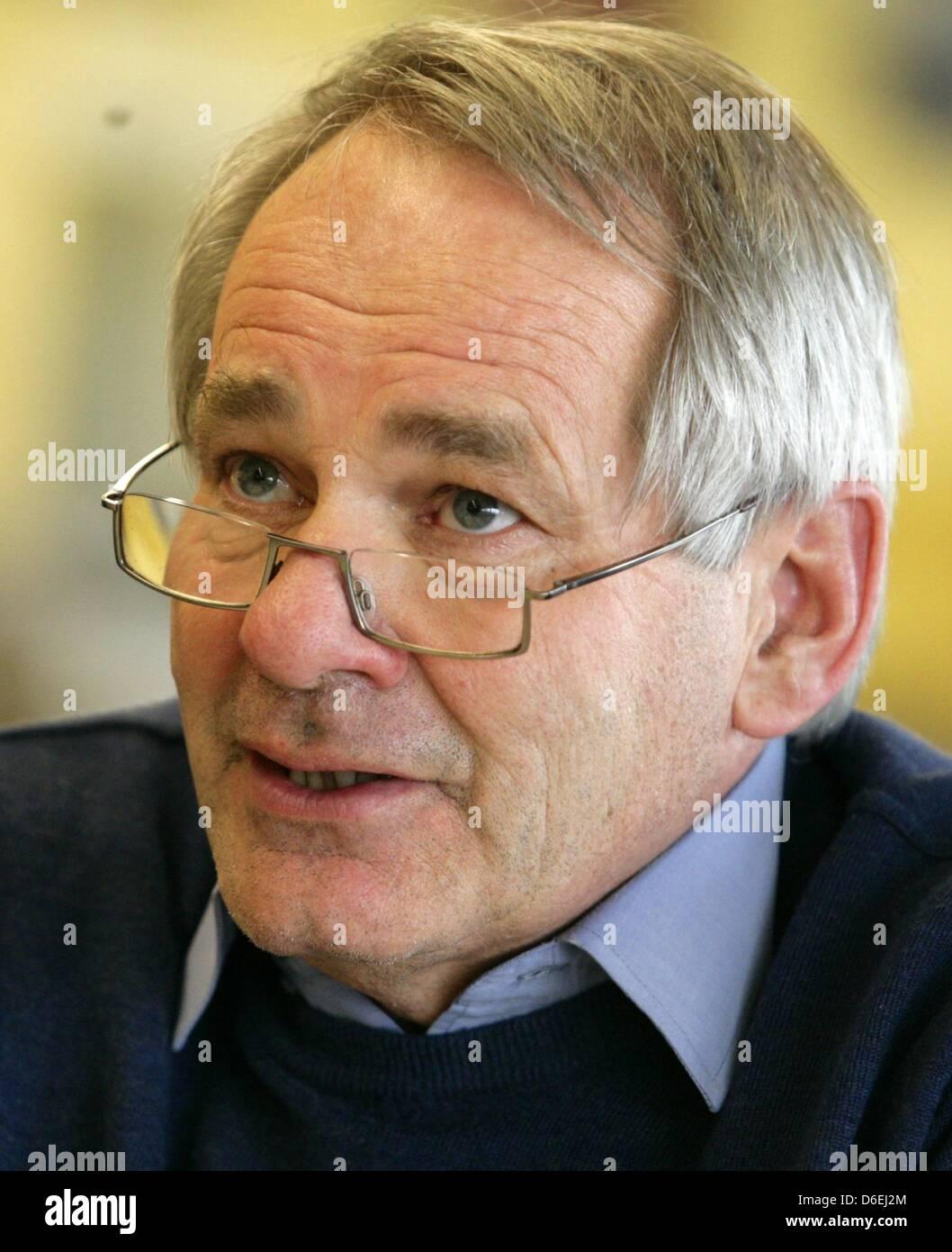 Fleet Commander of Van Oord Company Peter Bunschoten speaks during a press conference of the Sietas shipyard in - Stock Image