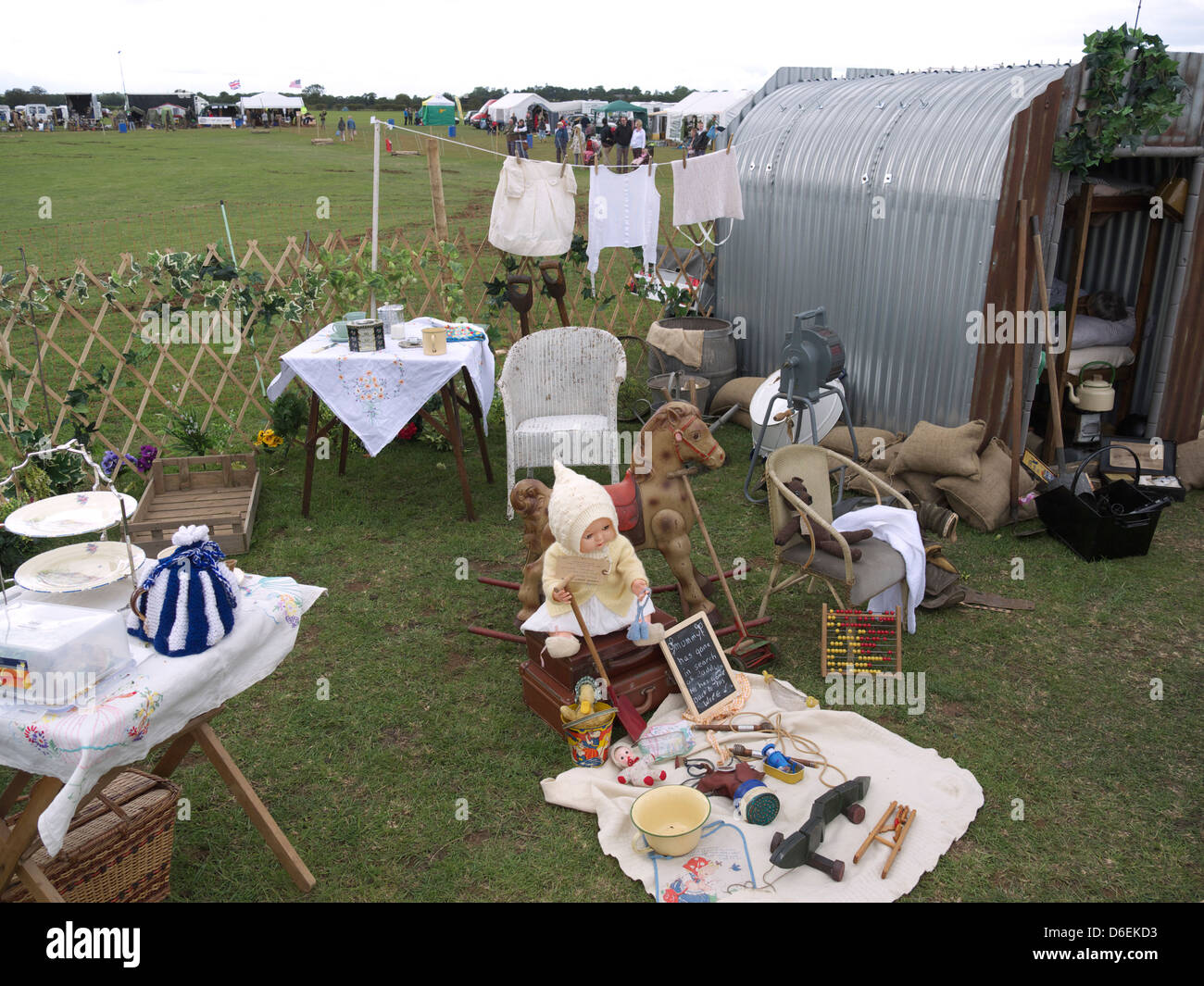 Display of 1940's memorabilia including a war time Anderson shelter,Rauceby war weekend 2011 - Stock Image