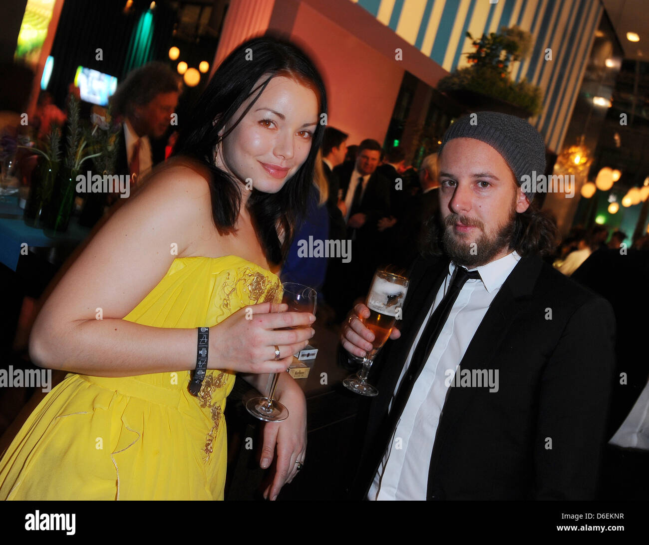 Actors Cosma Shiva Hagen and Marian Meder celebrate during the party of 47th Golden Camera award in Berlin, Germany, - Stock Image