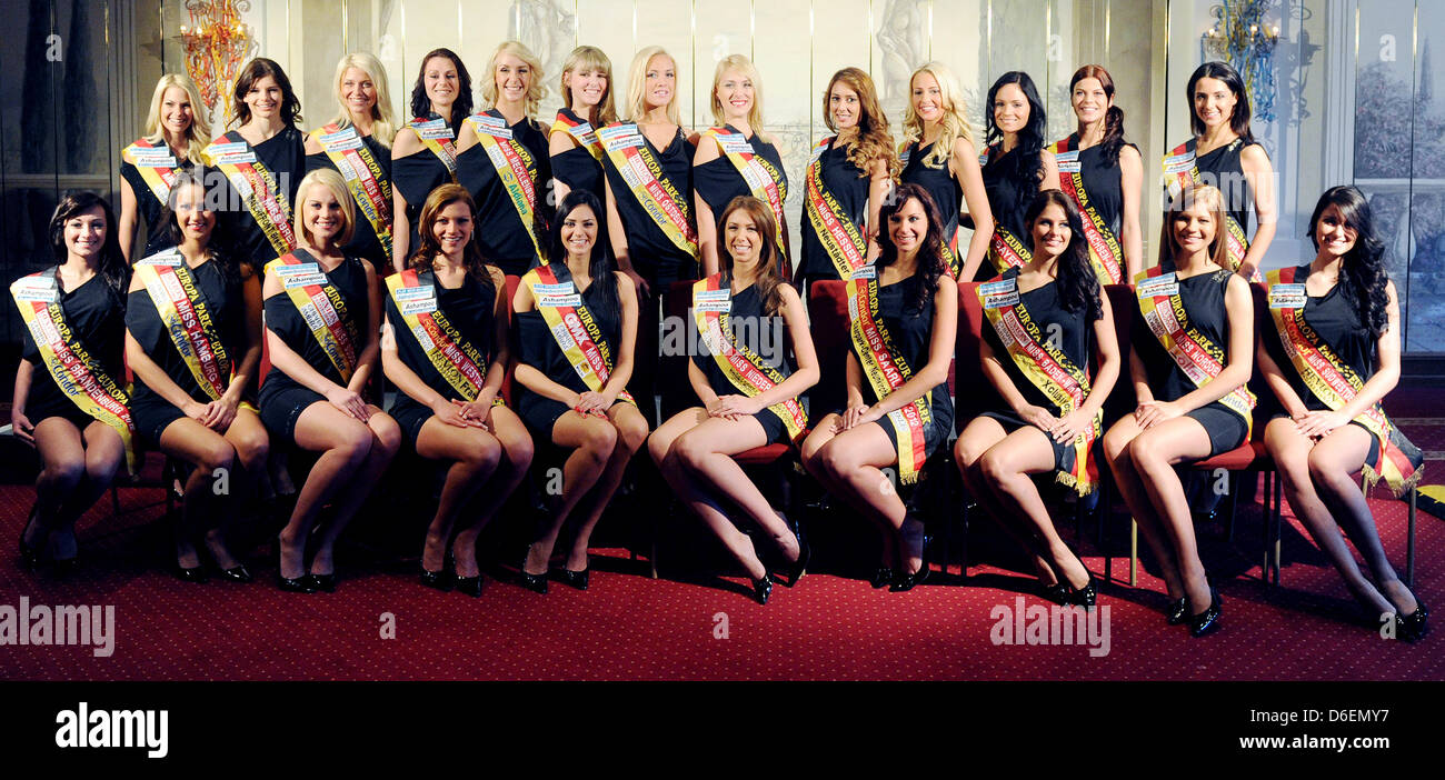Miss Germany 2012 candidates pose in a hotel at the Europa Park in Rust, Germany, 06 February 2012. The Miss Germany - Stock Image