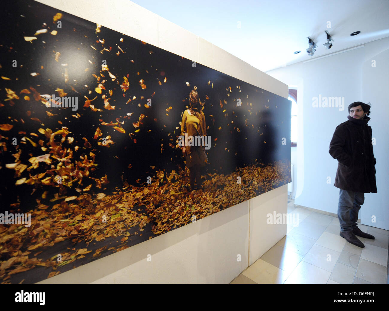 A young man looks at the pictrue 'Einkehr' ('Contemplation') by Florian Hildebrandt at the Neues - Stock Image