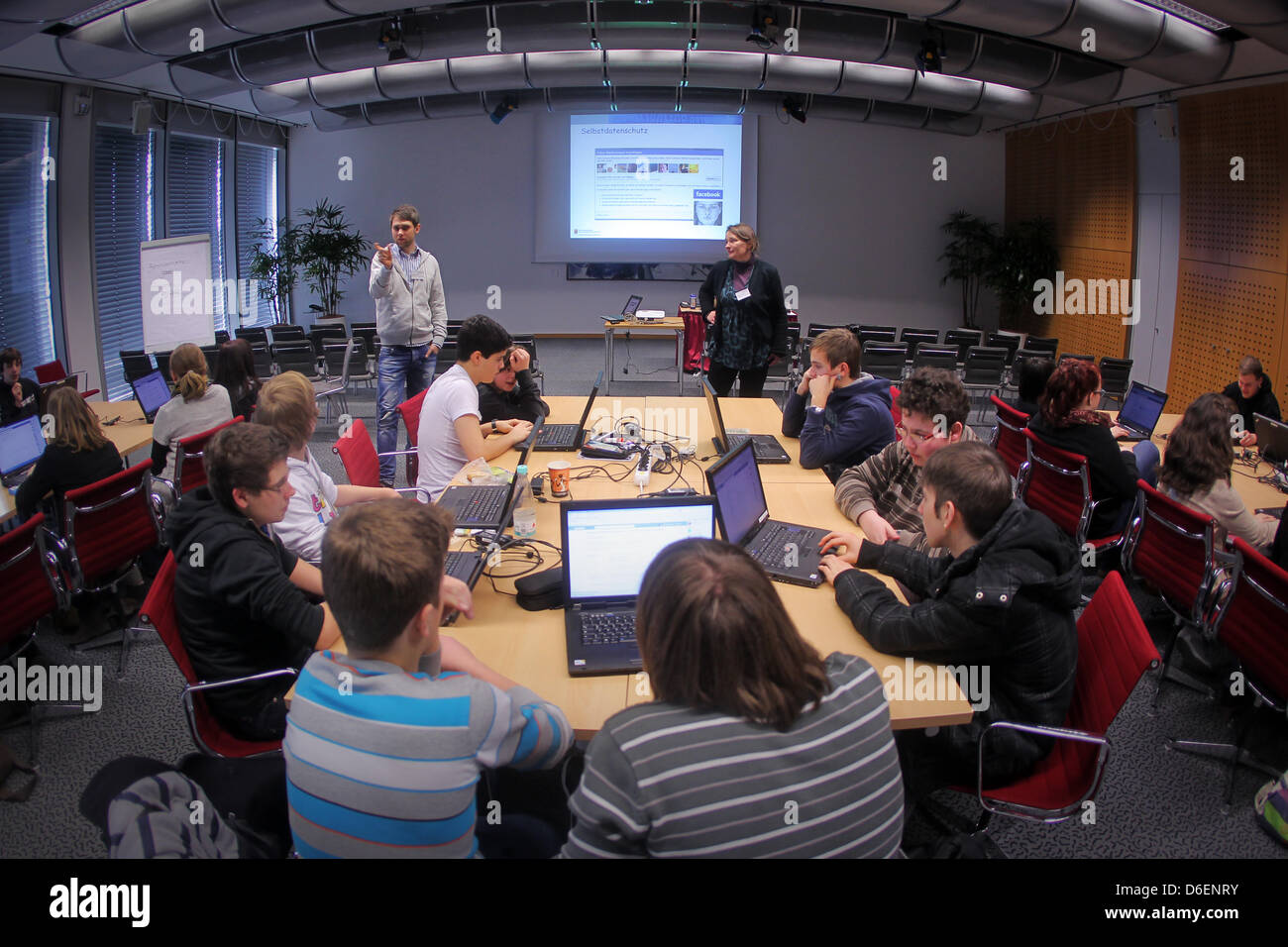 Pupils from various schools in Rhineland-Palatinate take part in 'Safer Internet Day' at the conference - Stock Image