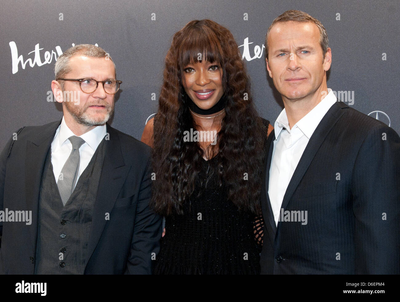 Editor of the magazine 'Interview' Bernd Runge (L-R), British super model Naomi Campbell and her partner, - Stock Image