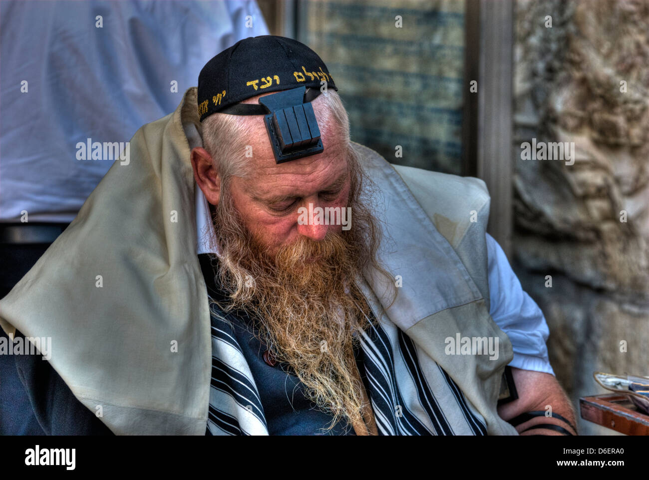 Jewish Man with Tallith and Tfelin - Stock Image