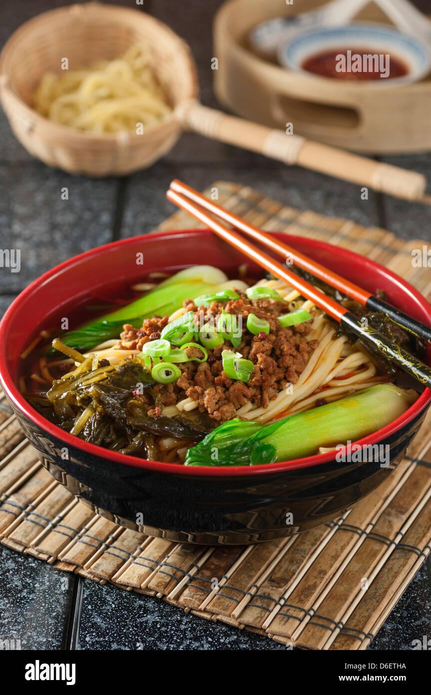 Dan dan noodles Szechuan food China - Stock Image