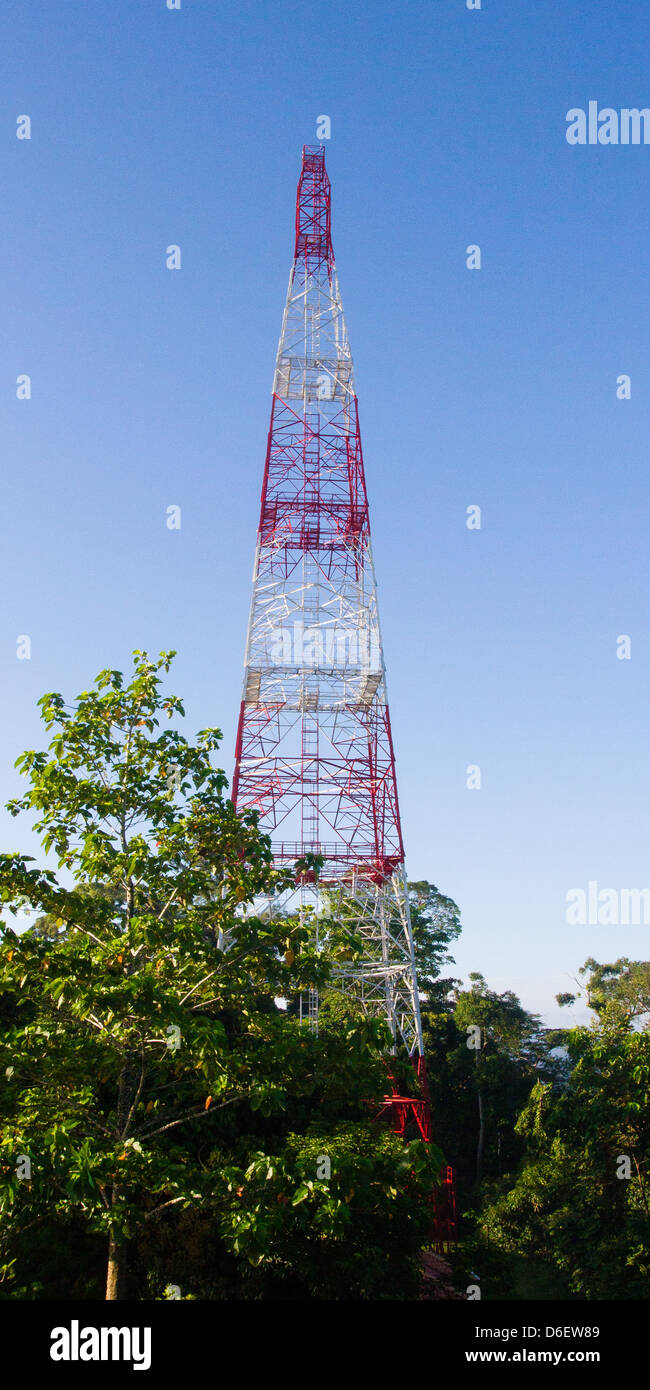 Global Atmosphere Watch Station tower in the Danum Valley in Sabah Borneo monitors the concentration of greenhouse - Stock Image