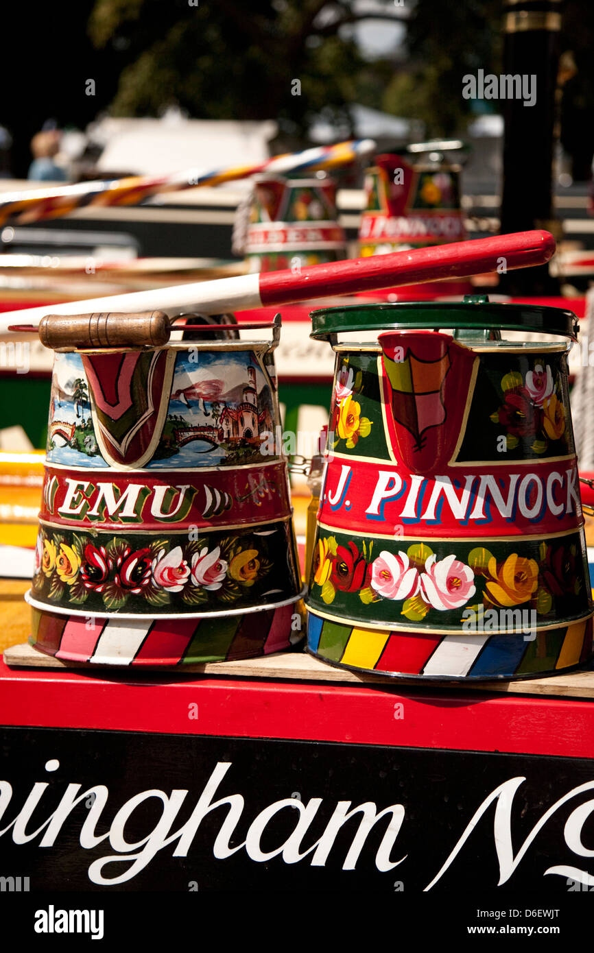 Buckby water cans aboard Narrowboat Emu, IWA festival, Trent and Mersey Canal,Shardlow,England - Stock Image