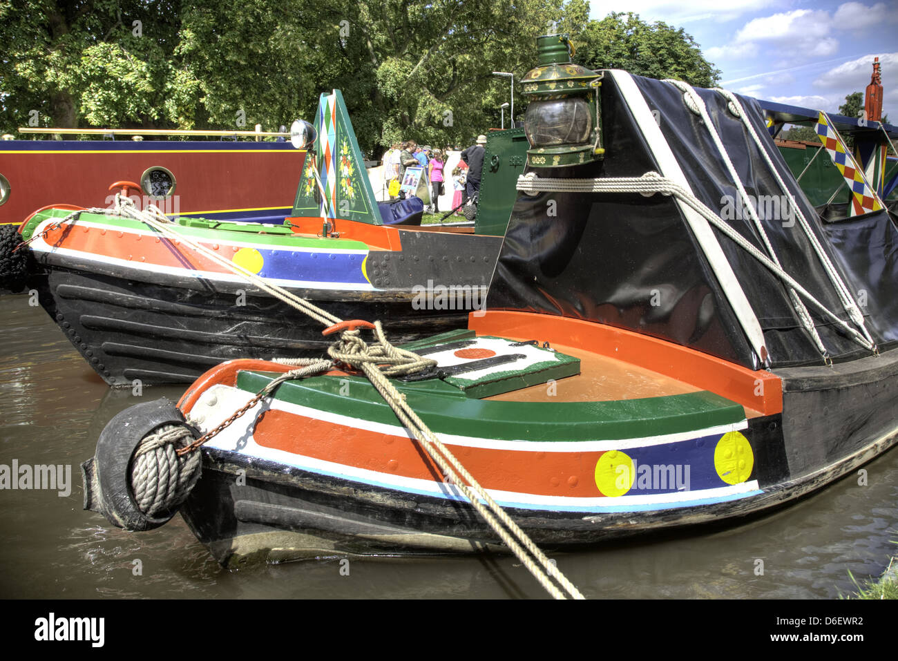 Pair of working traditional narrowboats at the IWA National Rally, Shardlow, Trent and Mersey Canal, England - Stock Image