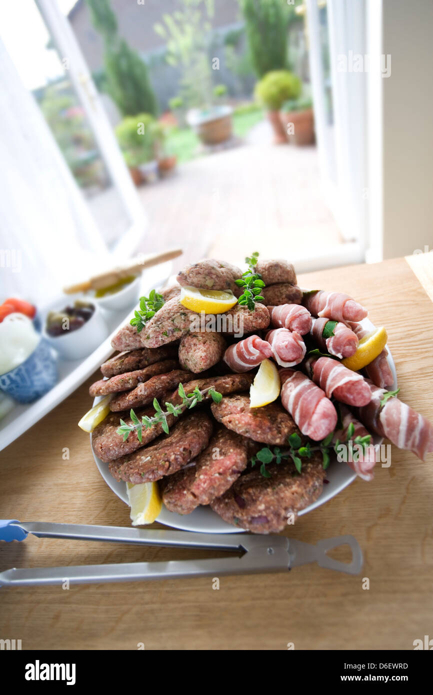 Assorted Meats Ready for the Barbecue - Stock Image