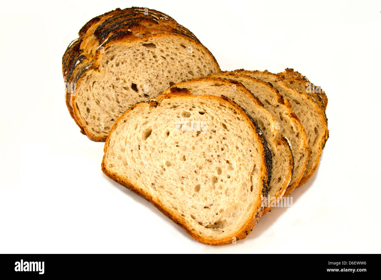 Sliced Multigrain Poppyseed loaf - Stock Image