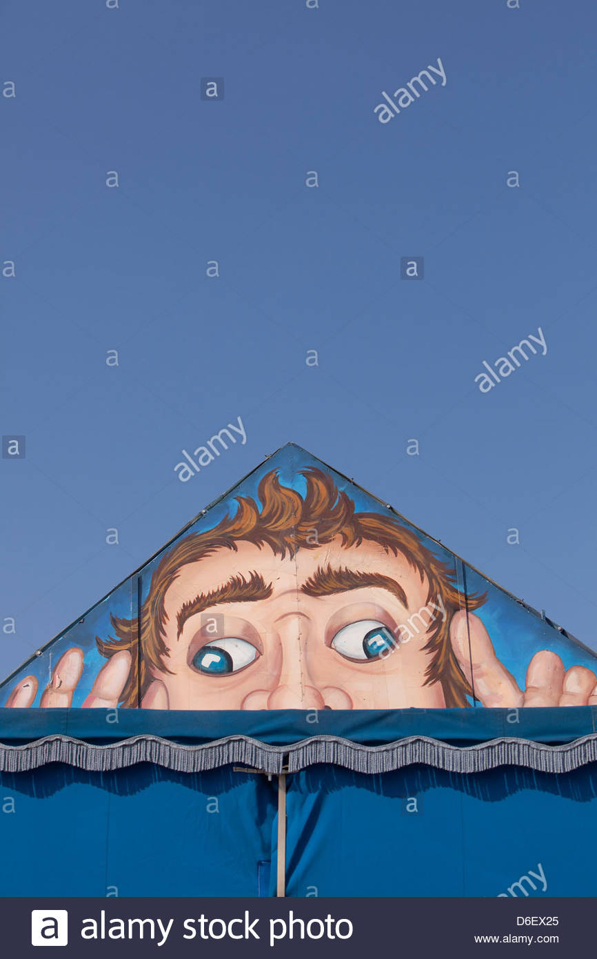 Face painted roof tent Oktoberfest Munich Bavaria Germany - Stock Image
