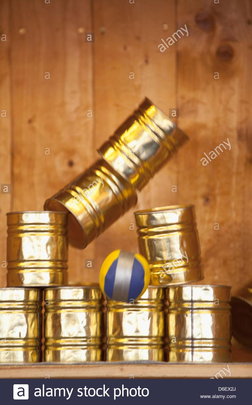 Close-up tin cans stand Oktoberfest Munich Germany - Stock Image